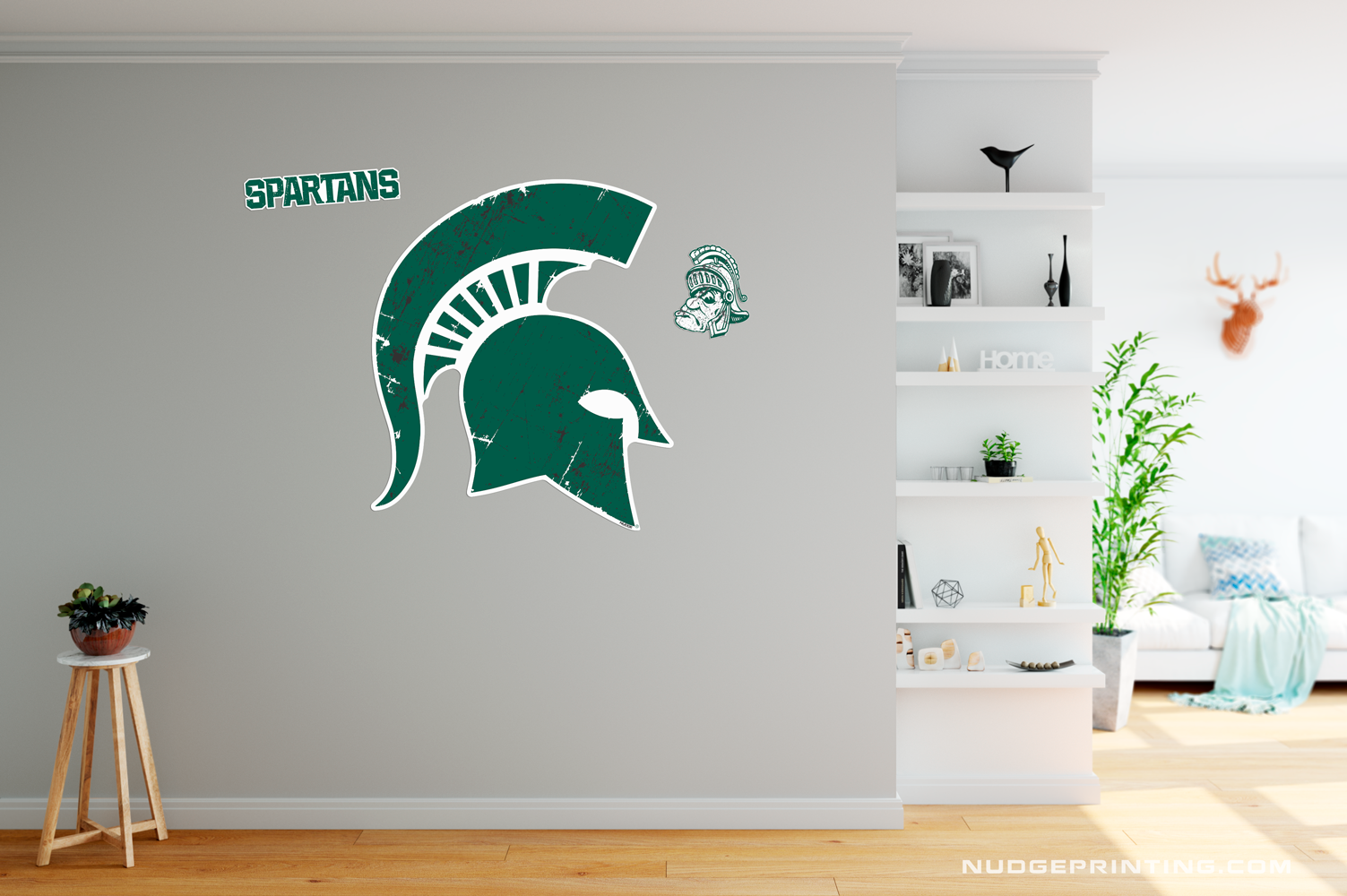 Classic Michigan State University Spartan Helmet Sparty Head - XL MSU Wall Decal