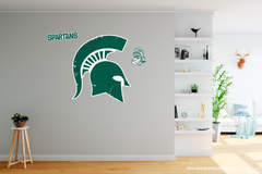 Classic Michigan State University Spartan Helmet Sparty Head - XL MSU Wall Decal Set