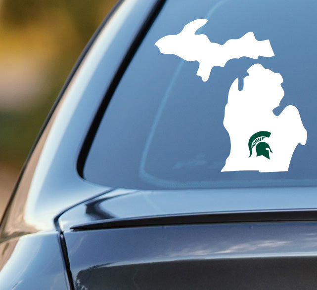 State of Michigan with MSU Logo Car Decal Sticker - Nudge Printing