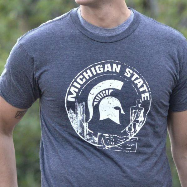 Nudge Printing Spartan Passport MSU Spartans Logo Michigan State Beaumont Tower Sparty Statue Super Soft T-Shirt