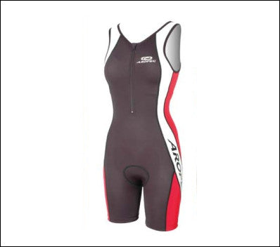 Ladies' Aropec BK/RD/WT Tri Suit