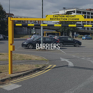 Height restriction barrier on a retail car park