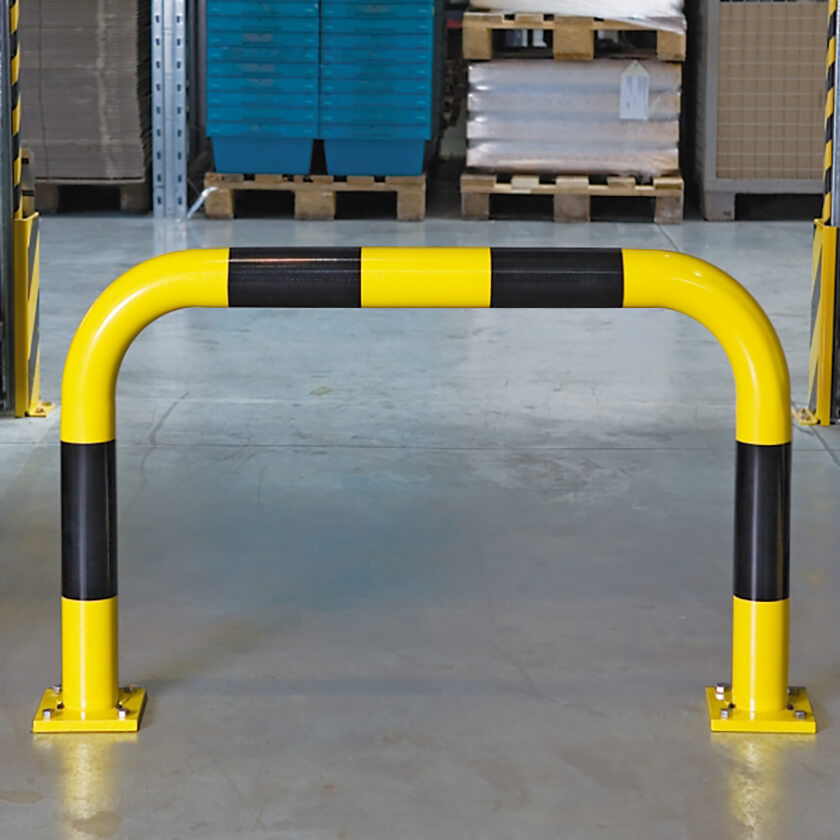 Industrial steel hoop barriers for warehouse protection