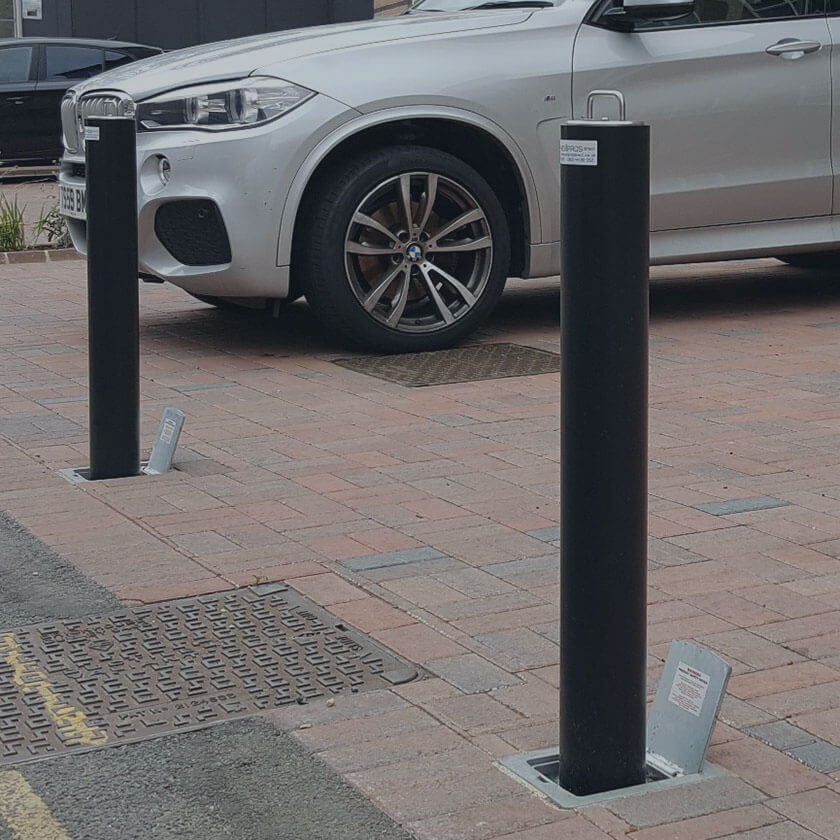 Pull up telescopic parking posts installed in a private car park