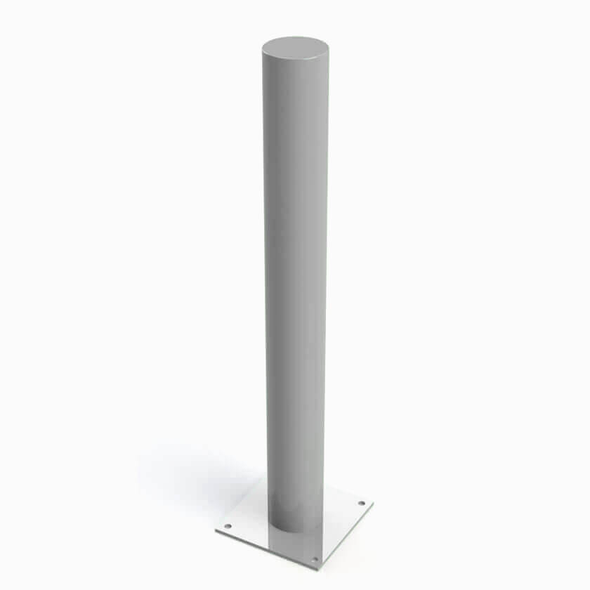 Defender 114mm diameter bolt down steel bollard in Silver
