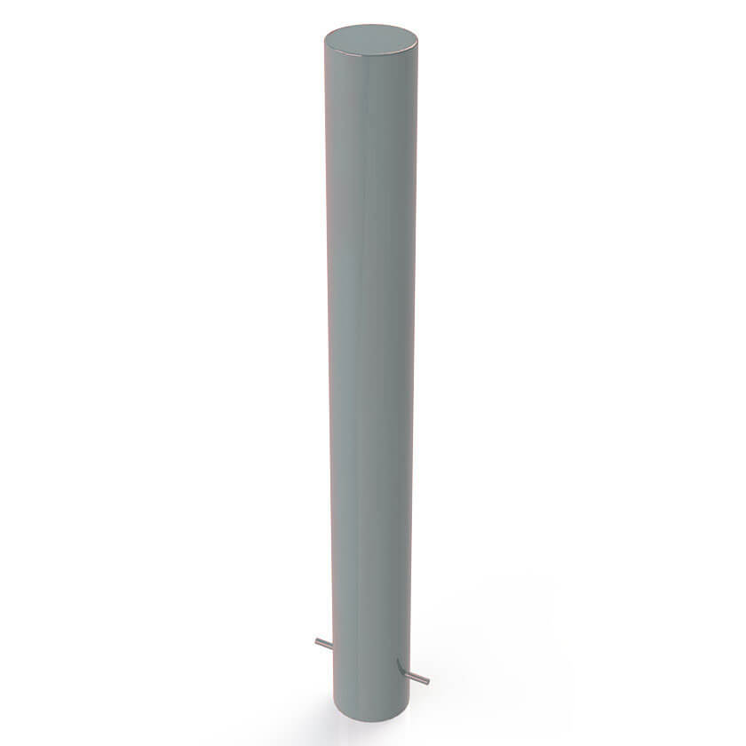 114mm diameter static steel bollard in a Silver finish