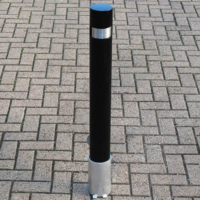100mm removable steel bollard in Black
