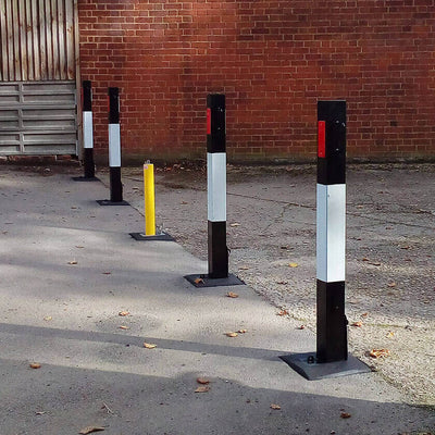 140-P Removable bollards on a private car park.