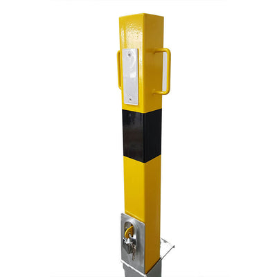 140-y Yellow removable bollard showing the White reflector plate