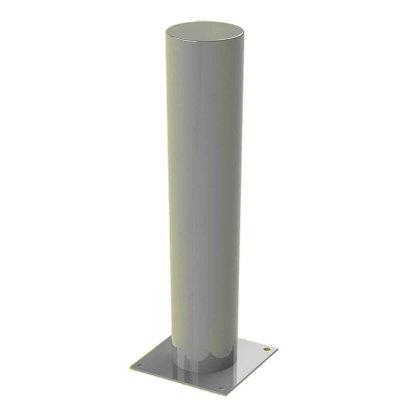 Defender bolt down steel bollard in Silver