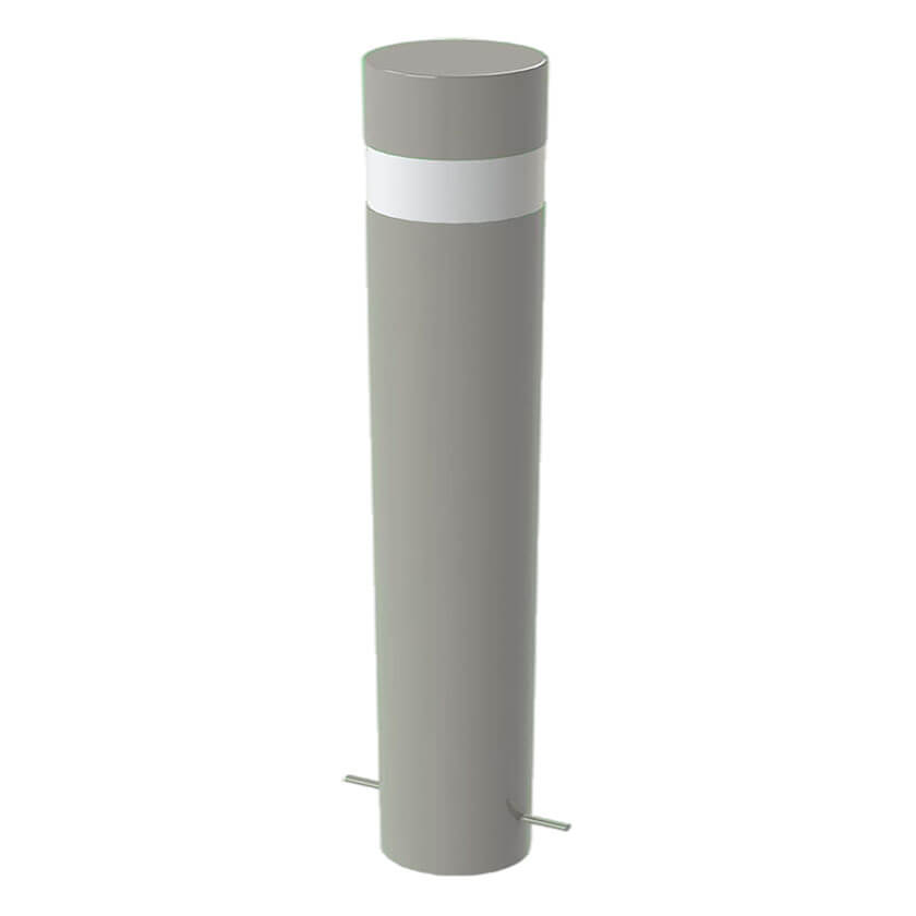 Large groove 168mm steel bollard in Silver