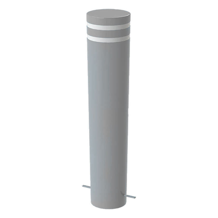 Twin groove 168mm diameter bollard in Silver