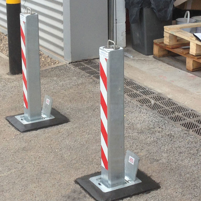 SQ8 anti ram raid telescopic bollards in a galvanised finish