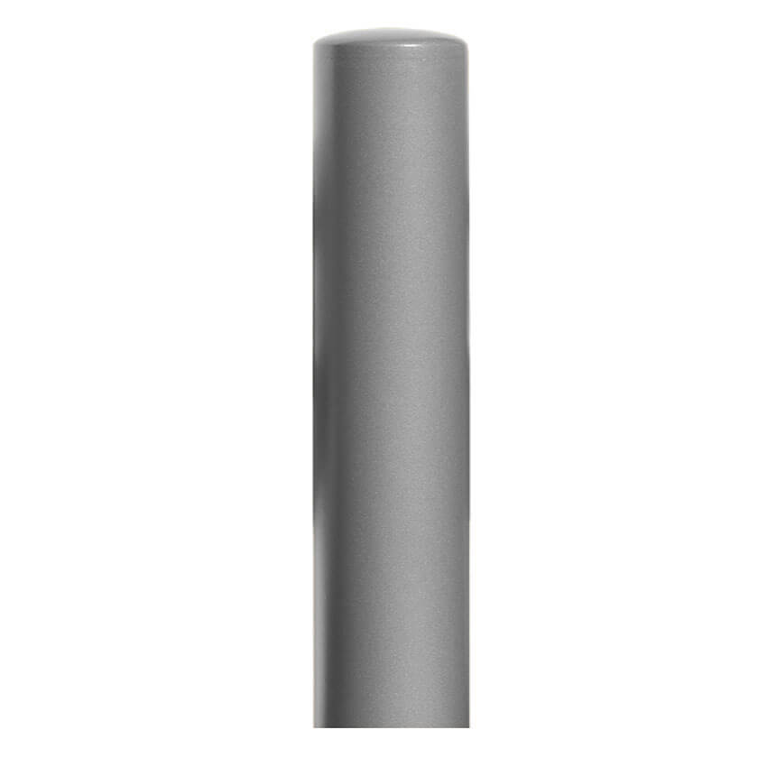 220mm diameter steel bollard in a silver powder coated finish