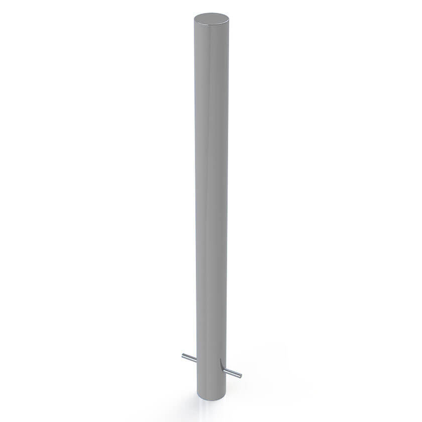 Round 90mm steel bollard in a Silver finish