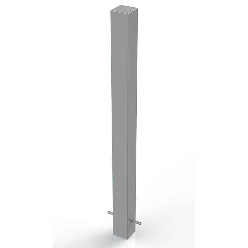 90 x 90mm square steel bollard in a Silver powder coated finish