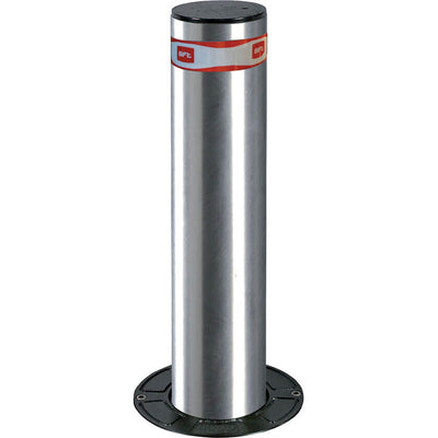 Easy-B Dampy 115 x 500 semi automatic rising bollard in stainless steel.