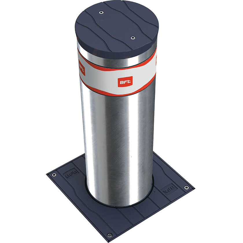 BFT MBB 700 Automatic rising bollards in stainless steel.