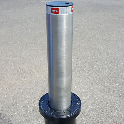 Easy-B semi automatic rising bollard in stainless steel.