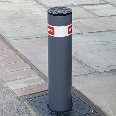 BFT -Easy 500 automatic rising bollard in a graphite grey finish.
