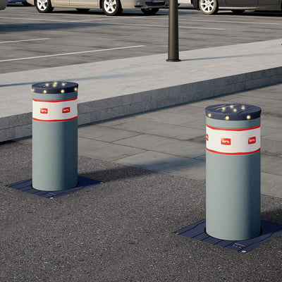 BFT MBB 700 Automatic rising bollards in graphite grey.