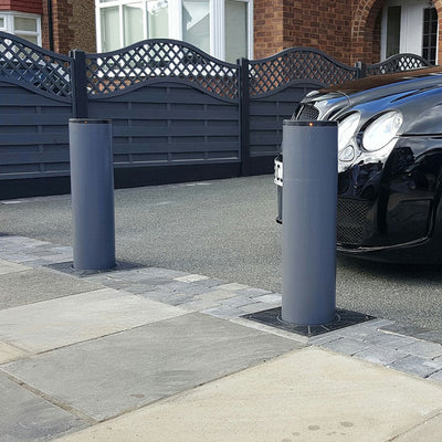 BFT - Easy 700 automatic rising bollards in graphite grey.