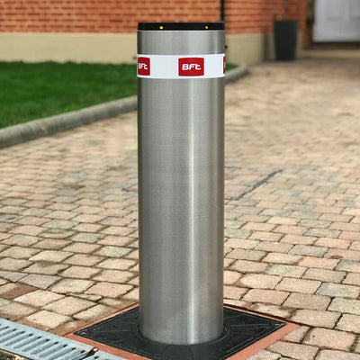 BFT - Easy 700 automatic rising bollard in stainless steel.