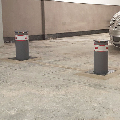 BFT - MBB 500 automatic rising bollards in graphite grey.