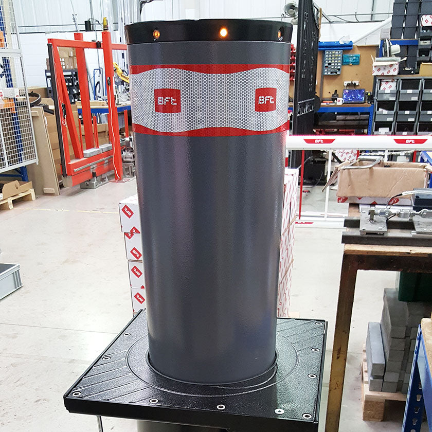 BFT Pillar-B 600 automatic rising bollard in graphite grey.