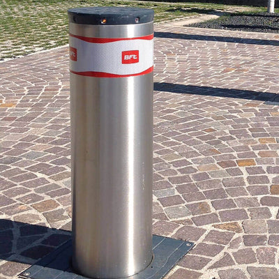 BFT Pillar-B 600 automatic rising bollard in stainless steel.
