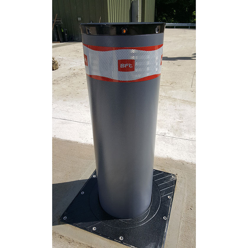 BFT Pillar-B 800 automatic rising bollard in graphite grey.