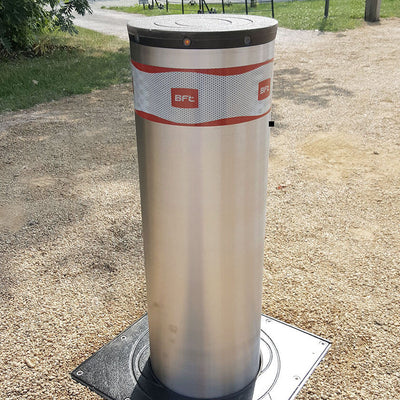 BFT Pillar-B 800 automatic rising bollard in stainless steel.