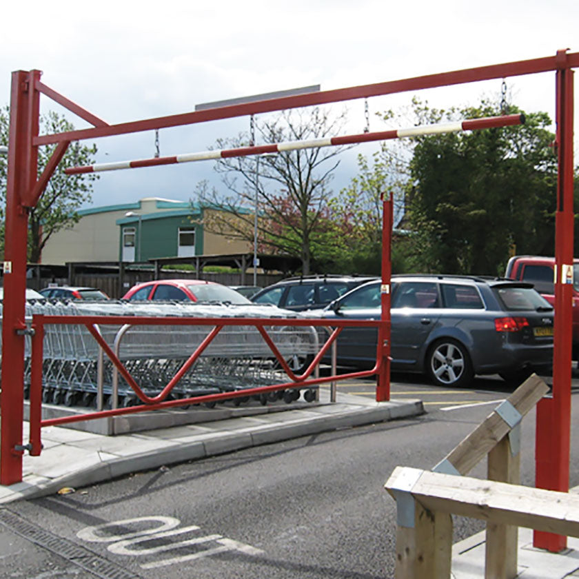 Combination height restriction barrier in Red