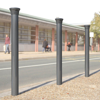 Forum 114mm diameter steel bollard in Grey