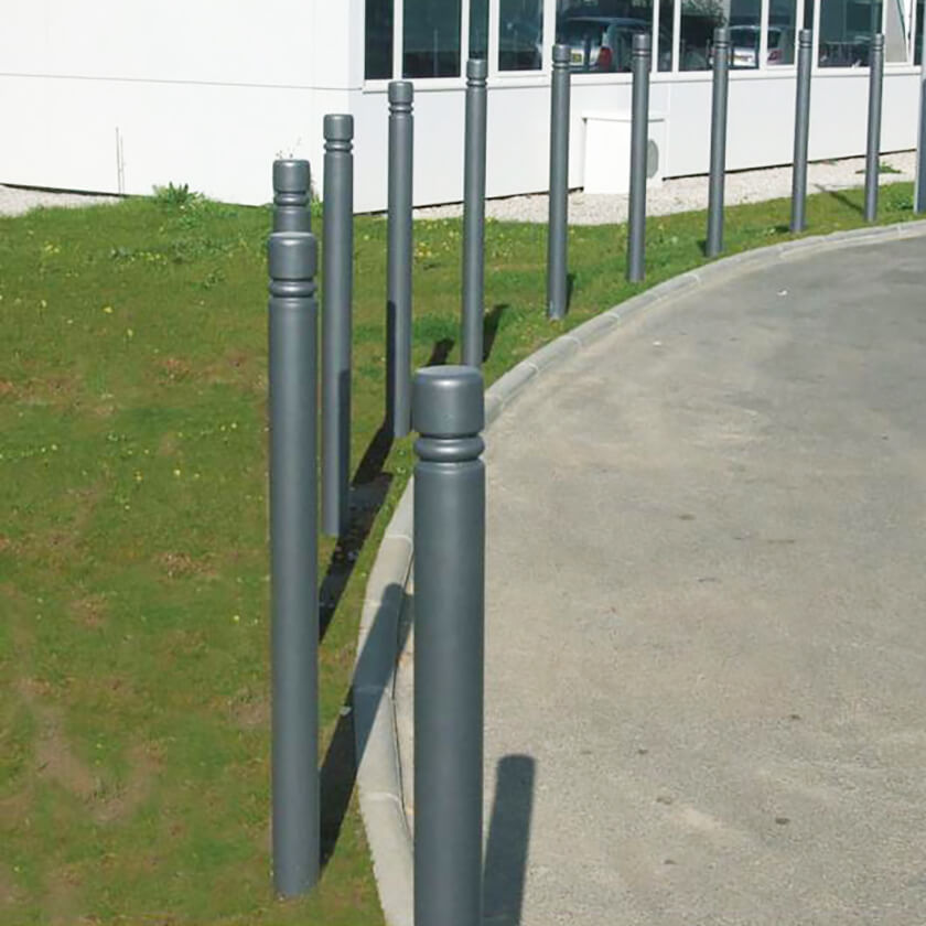 City 114mm removable steel bollard in Grey