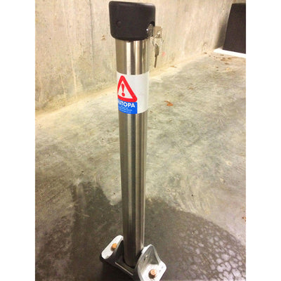 Hinged fold down parking post in a 304 grade stainless steel finish