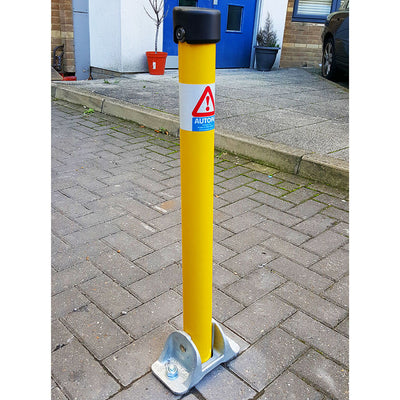 Hinged fold down parking post in Yellow