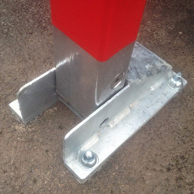 I-Frame parking barriers ground fixing plate.