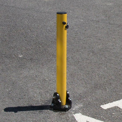 KYP1 Fold down parking post on a Tarmac surface