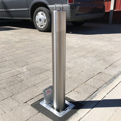 SS14 Stainless steel telescopic bollard on a private driveway
