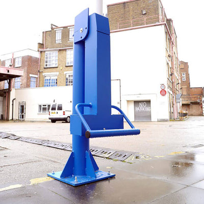 Arm barrier counterweight in a Blue powder coated finish.