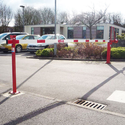 Closed arm barrier in a Red powder coated finish.