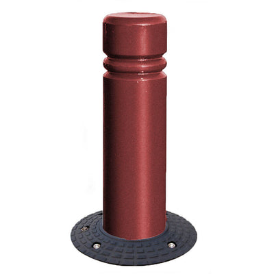 City - semi automatic rising bollard in a red powder coated finish