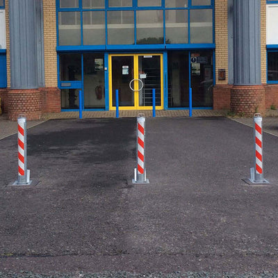 Multiple R8 telescopic bollards protecting an entrance