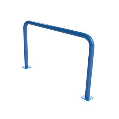 76mm steel fixed hoop barrier in a Blue powder coated finish.