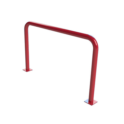 76mm steel fixed hoop barrier in a Red powder coated finish.