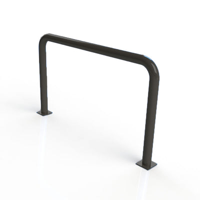 90mm tube static steel hoop barrier in a Black powder coated finish.