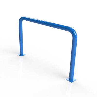 90mm tube static steel hoop barrier in a Blue powder coated finish.
