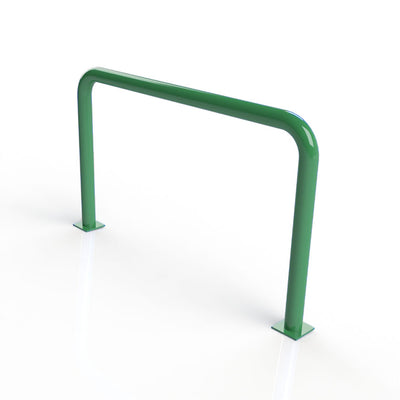90mm tube static steel hooped security barrier in a Green powder coated finish.