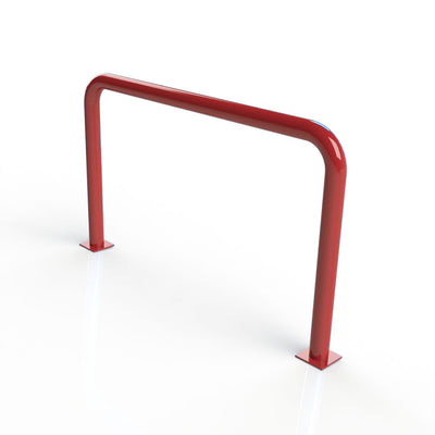 90mm tube static steel hooped security barrier in a Red powder coated finish.